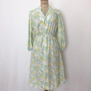 Vintage light blue floral dress sz:M summer green